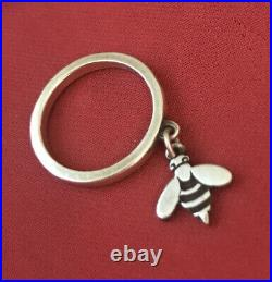 RETIRED Size 4 James Avery Sterling Silver 925 Honey Bee Charm Dangle Ring