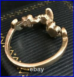 Rare RETIRED Size 10 James Avery 14k Bee & Flower 3D Yellow Gold Ring Vintage