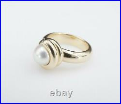 Rare Retired Heavy James Avery 14k Yellow Gold Pearl Coil Ring Size 6.5 RG2411