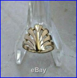 Rare Retired James Avery 14K Gold Seashell Ring Size 3 Sea Shell with Wooden Box
