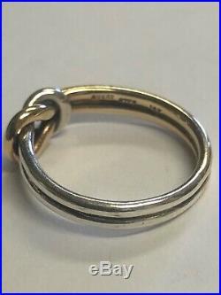 Rare Retired James Avery 14k Gold & 925 Lovers Knot Ring