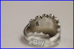 Rare Retired James Avery Sterling Scalloped Floral Wide Band Ring -SIZE 6.75