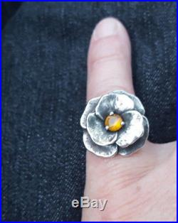 Rare Retired James Avery Sterling Silver Yellow Topaz Pansy Flower Ring Gift Box
