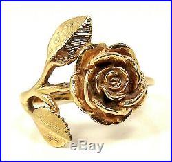 Retired JAMES AVERY Rose Rosebud Flower Leaf 14K YELLOW GOLD Size 7.5 Ring5.2 G
