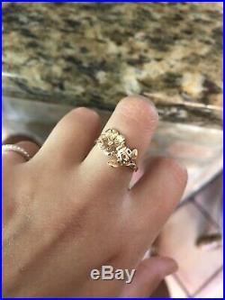 Retired James Avery 14K Gold Dogwood And ladybug Ring Size 6 1/2