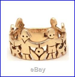 Retired James Avery 14k Gold Children Animals & Flowers Paper Dolls Ring Size 7