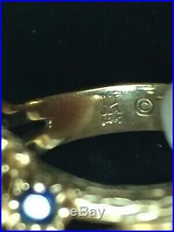 Retired James Avery 14k Gold Daisy Flower Ring Eleven Blue Sapphires Size 5.25