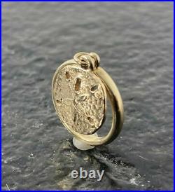 Retired James Avery 14k Gold SAND DOLLAR DANGLE CHARM Ring Size 4 4 Grams