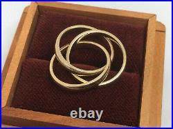 Retired James Avery 14k Yellow Gold Trinity Ring Original Box PLUS Silicone Band