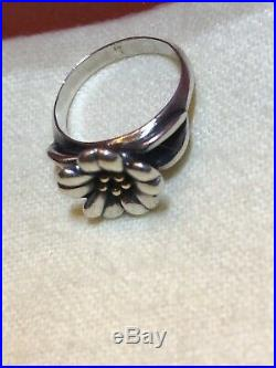 Retired James Avery 18k Gold and Sterling Silver 925 April Flower Ring SIZE 6.0