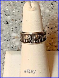Retired James Avery 2 By 2 Elephant, Camel, Rhino Animal Band Ring Sz 5.5 RARE
