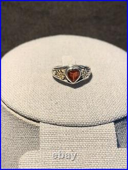 Retired James Avery Red Heart Garnet Silver and Gold Flower Ring Size 7