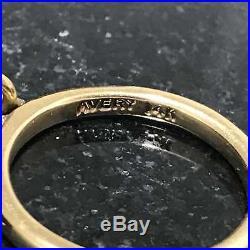 Retired James Avery Sand Dollar Dangle Ring R-48 Sz 4 14K Yellow Gold. 585