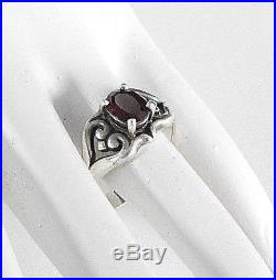 Retired James Avery Solid 925 Sterling Silver Ring Mother's Love Garnet Stone 10
