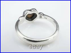 Retired James Avery Sterling Silver 14k Gold Heart Bead Ring Size 7.5 RS2831