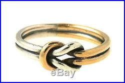 Retired James Avery Sterling Silver & 14k Lover's Knot Ring, Size 6