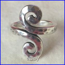 Retired James Avery Sterling Silver 925 Hammered Swirl Ring Size 9 1/2 RARE