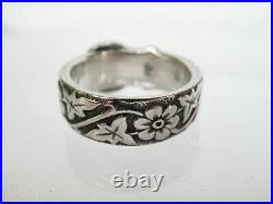 Retired James Avery Sterling Silver Floral Belt and Buckle Ring sz 7.5