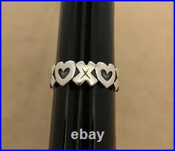 Retired James Avery Sterling Silver XO Hugs and Kisses Heart Ring Size 8.5