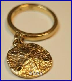 Retired & RARE James Avery 14k Gold SAND DOLLAR DANGLE CHARM Ring Size 2.5