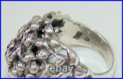 Retired Rare James Avery Ring Signed Sterling Silver Large Brutalist Dome Pierce