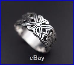 Retired Sterling Silver James Avery Scrolled Open Heart Band Ring Size 8 RS1771