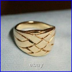 Retired & Vintage James Avery 14k Gold BASKET WEAVE Ring Size 8.75