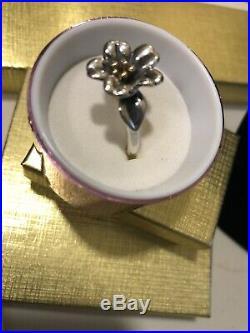 Retired vintage James Avery Sterling Silver 14 Kt Gold April Flower Ring size 9