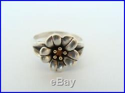 Retired vintage James Avery Sterling Silver 18k Gold April Flower Ring size 9