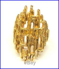 Stunning And Rare James Avery 14K Yellow Gold Modern Brutalist Ring, Size 7.75