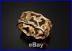 Vintage James Avery 14K Gold Hummingbird Ring Band Sz 7-1/2 5.6 grams