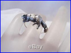 Vintage James Avery Sleeping Kitty Cat Sterling Silver Ring Retired 7 1/2