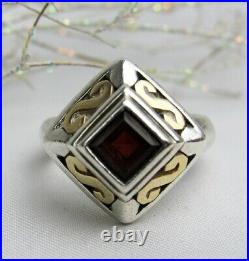 Vintage Rare James Avery 18K Gold and Sterling Silver Garnet Ring Size 6