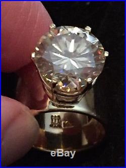 WOW! 14K Gold James Avery Custom Ring 12mm Natural Moissanite tests as Diamond
