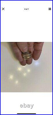 Yellow Gold James Avery Stacked Hammered Band Ring Sz 8